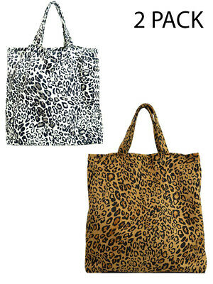 £4.95 • Buy Reusable Shopping Tote Bags Large Shopper Leopard Print Summer 2 Pack Travel New
