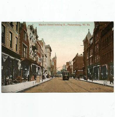 $9.95 • Buy Antique Postcard View Of Market Street With Trolley Parkersburg West Virginia