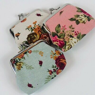 $7.50 • Buy Women 3pc Small Flower Coin Change Purse Canvas Vintage