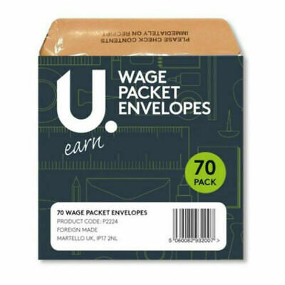 £2.99 • Buy 70 Wage Cash Earnings Packet Brown Envelopes Staff Pay Office Envelope