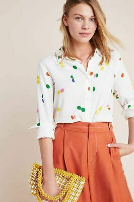 $ CDN62.22 • Buy Anthropologie Nice Things Rainbow Dot Dauber Button Down Blouse Size 36 Small 4