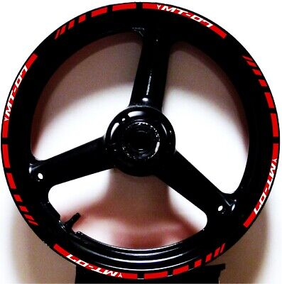 £19.47 • Buy Red Reflective 3m Gp Style Rim Stripes Wheel Decals Tape Stickers Yamaha Mt-07