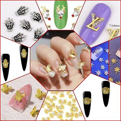 UK,  3D Nail Art Decoration Bows Flowers Decals Rhinestone Gems Stickers Charms  • 3.79£