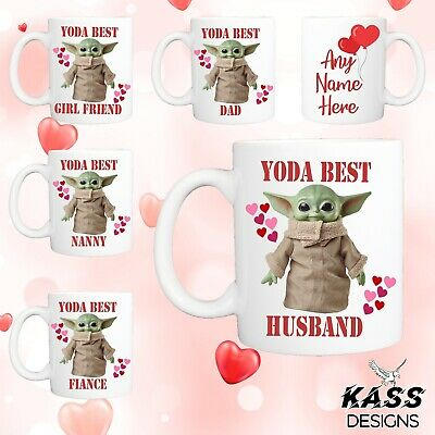 Personalised Mug Baby Yoda Mug Funny Cute Ideal Valentines Day Cup Gift Surprise • 8.49£