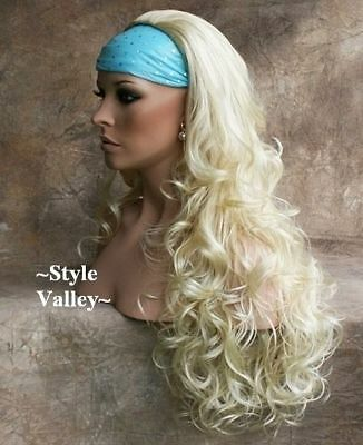 $54.93 • Buy Light Blonde 3/4 Fall Hair Piece Bleach Long Curly Layers Half Wig Hairpiece