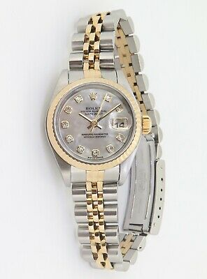 AU7995 • Buy .2002 Rolex Datejust Ladies 18K & Steel Wrist Watch + Box 79173