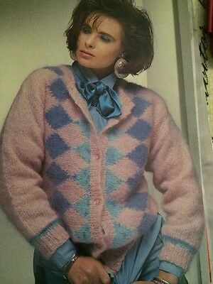 Ladies Mohair Diamond Pattern Cardigan Knitting Pattern • 1.70£