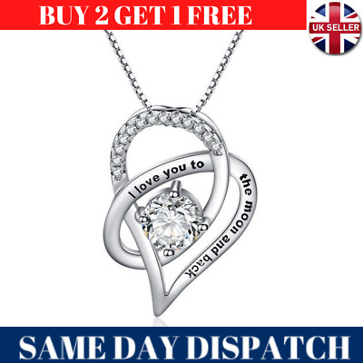 £4.99 • Buy I Love You To The Moon Pendant Heart 925 Silver Chain Necklace Womens Jewellery
