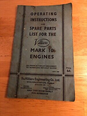 1950 Villiers Operating Instructions And Spare Parts List For Mark 10 Engines • 4.99£