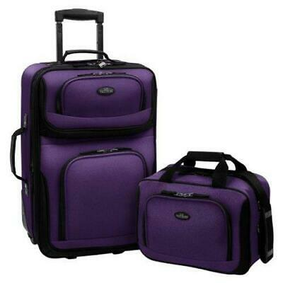 View Details Carry-on Rio Purple Rolling Lightweight Expandable Suitcase Tote Bag Luggage Set • 57.40$