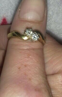 Gold 2 Stone Twisted Diamond Ring. Size N 0.33 • 145£