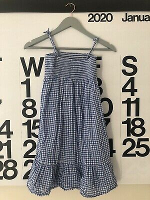 H&M Blue White Checked Cotton Gingham Smock Sun Dress Age 9-10y • 4.99£