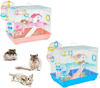 *new* Little Zoo Mouse Dwarf Hamster Cage Play House W/ Tubes 2 Colours  • 34.99£