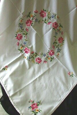 Vintage French Beautiful Handmade Cross Stitch Linen Tablecloth Roses Daisies • 18.99£