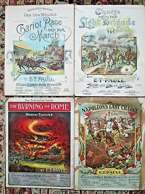 $12.99 • Buy 4 Pcs E T PAULL Sheet Music CHARIOT RACE,CHARGE LIGHT BRIGADE,BURNING ROME,NAPOL