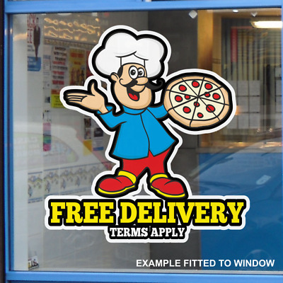 Free Delivery Catering Window Sticker Cafe Shop Restaurant Pizza Take Away Sign • 5.79£