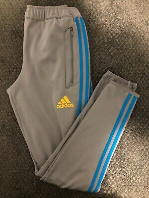 $ CDN18.95 • Buy Mens Adidas Tiro Pants Size Small Gray W/Blue Stripe Sweat Pants Tapered Leg