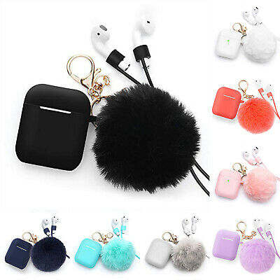 $ CDN5.62 • Buy Cute Airpods Silicone Case Cover W/Fur Ball Keychain Strap For Airpods 1 2 Pro3
