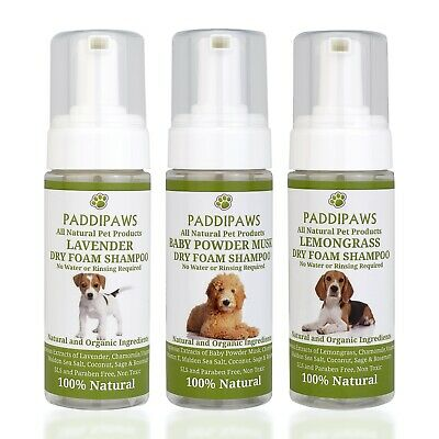 100% Natural Quick Wash Dry Foam Waterless Dog Shampoo-No Rinsing - Leave To Dry • 9.95£