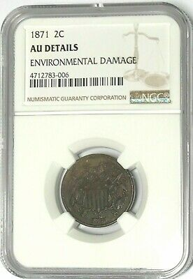 $ CDN134.07 • Buy 1871 COPPER TWO 2 CENT PIECE NGC GRADED AU DETAILS Nice