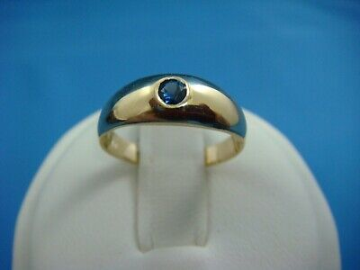 $350 • Buy 14 K.gold Small Baby-ladies Gypsy Ring With Natural Royal Blue Sapphire