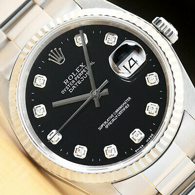 $ CDN5864 • Buy Mens Rolex Datejust 16234 Black Diamond Dial 18k White Gold & Steel Watch