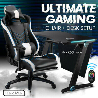 AU479 • Buy 【EXTRA15%OFF】OVERDRIVE Gaming Chair Desk Racing Seat Setup Black Combo PC