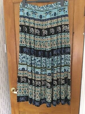 Cotton Traders Blue Maxi Skirt Size 16  Tiered Boho Gypsy Ethnic Elephant Print  • 7.50£