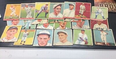 $99 • Buy VINTAGE LOT 1933 1934 GOUDEY BASEBALL CARDS 22 Different Cards Low Grade