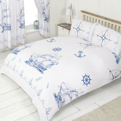 Ships And Anchors Double Duvet & Pillowcases Bed Cover Set, Nautical • 24.26£