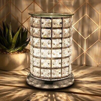 £20.90 • Buy Desire Aroma Silver Electric Touch Lamp Clear Crystal Wax Melt Oil Burner 46008