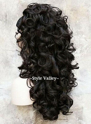 $54.99 • Buy Brown Black 3/4 Fall  Hairpiece Long Curly Layered Half Wig Hair Piece #2