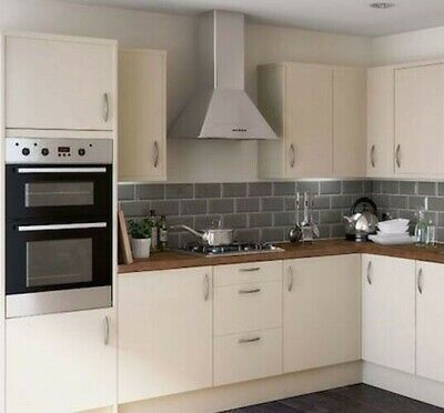 New Hygena Chancery Cream Slab Kitchen Flat Pack Orders Over £700=Free Delivery • 15£