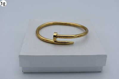 $13.46 • Buy 7 1/4  Unisex Stainless Steel Gold Nail Cuff Bracelet Mens With Box-g
