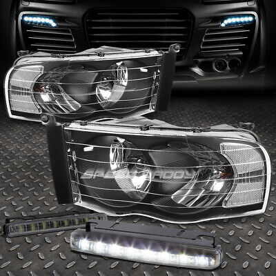 $75.18 • Buy Black Housing Headlight+clear Corner+8 Led Smoke Fog Light For 02-05 Dodge Ram