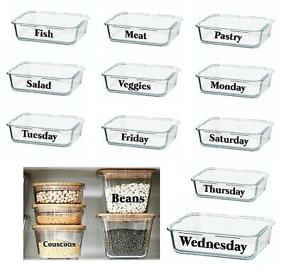 Set Of 10 Personalised Sticker Label Glass Jars Tins Tubs Storage Boxes Box Pots • 7.99£