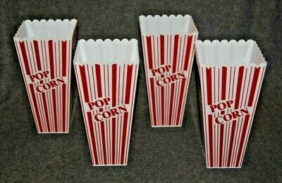 4 Reusable Novelty Plastic Popcorn Boxes Containers • 11.79£