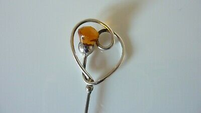 Art Nouveau Sterling Silver And Citrine Stone Hat Pin • 28£