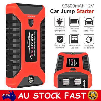 AU79.99 • Buy 99800mAh Vehicle Car Jump Starter 4USB Power Pack Booster Battery Charger 600Amp