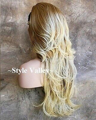 $47.42 • Buy Blonde Mix 3/4 Wig Fall Hairpiece Long Wavy Gorgeous Layered Hair Piece XL