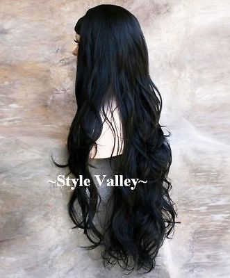 $69.91 • Buy Jet BLACK 3/4 Fall Long WAVY Hair Piece Half Wig Cap  Extra Long Hairpiece  #1