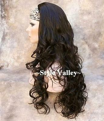 $54.99 • Buy Extra Long  Dark Brown 3/4 Wig Fall Long Curly  Hair Piece