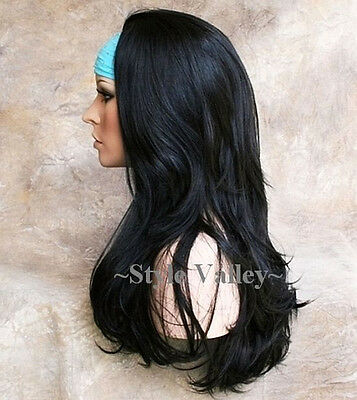 $54.71 • Buy Our Thickest Black 3/4 Wig Fall Hairpiece Straight Half Wig Hair Piece Color #1B