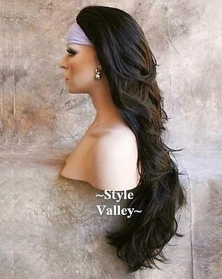 $47.42 • Buy DARK BROWN 3/4 Wig Fall Hairpiece Long Wavy Half Wig Layered XL Hair Piece #4