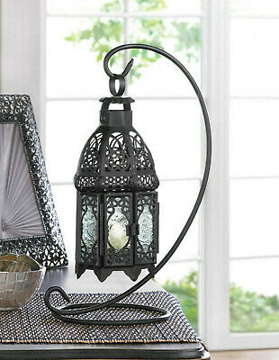 $27 • Buy Black Moroccan Lace 13  Candle Holder Lantern Light Outdoor Terrace WITH Stand