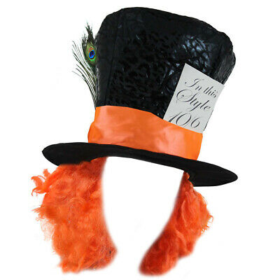Mad Hatter Top Hat Orange Hair Book Day Character Fancy Dress Costume Accessory • 7.99£