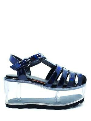 YRU Qloud Chariot Black Punk Goth Clear Compartment Jelly Sandals Platforms Shoe • 131.72£