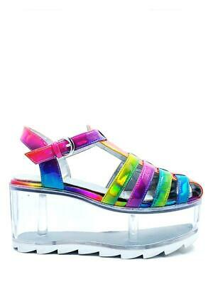 YRU Qloud Chariot Kawaii Rainbow Clear Compartment Jelly Sandals Platforms Shoes • 131.72£