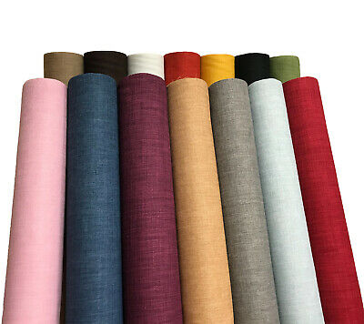 Plain Soft Linen Look Fabric Curtain Material Dressmaking Upholstery 145cm Wide • 6.64£