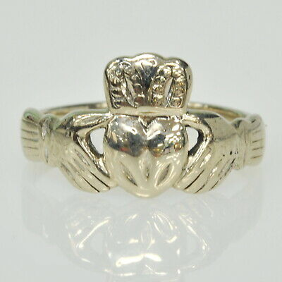 $124.99 • Buy 10k White Gold Irish Claddagh Claddah Band Estate Ring Size 10